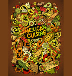 Cartoon cute doodles mexican food vector