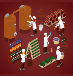 Winery factory wine production line isometric vector