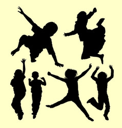 Teen people jumping and playing silhouette vector