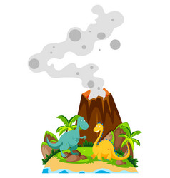 Two dinosaurs at the base of volcano vector