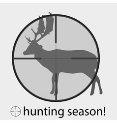 Hunting season with deer in gunsight eps10 vector