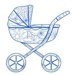 Boy baby carriage vector image
