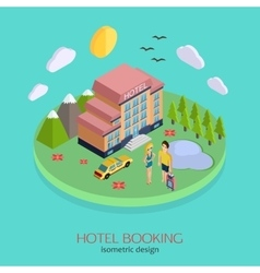 Hotel booking 3d isometric design concept vector
