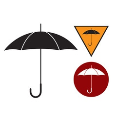 Black silhouette of umbrella on the white vector