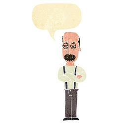 Cartoon annoyed old man with speech bubble vector