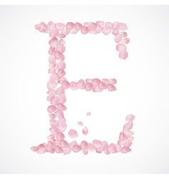 E letter alphabet from pink petals of rose vector