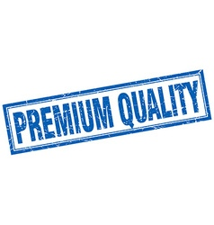 Premium quality blue square grunge stamp on white vector