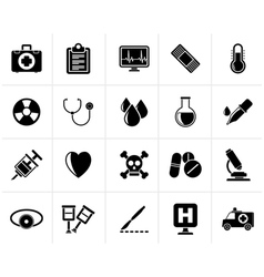Black medical tools and health care equipment icon vector image vector image