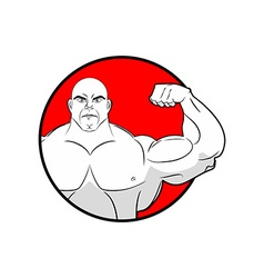 Bodybuilder with big muscles Emblem gym Logo for vector image vector image