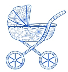 Boy baby carriage vector image