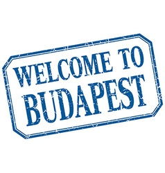 Budapest - welcome blue vintage isolated label vector