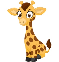 Cartoon baby giraffe sitting vector