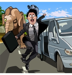 cartoon frightened man in a suit running away from vector image vector image