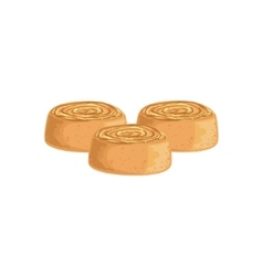 Cinnamon buns bakery assortment icon vector