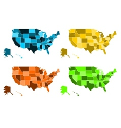 Coloured maps of United States of America vector image