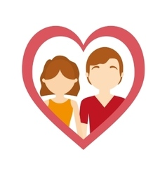 Couple love frame heart affection vector