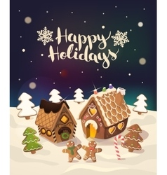 Cristmas Background with gingerbread houses candy vector image