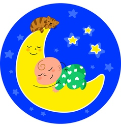Cute baby asleep on the moon vector image