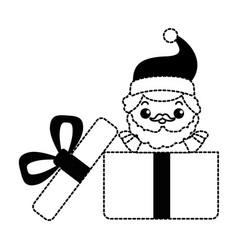 cute santa claus in giftbox kawaii character vector image