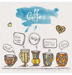 Decorative sketch of cups of coffee vector