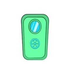 Door with window and lock wheel icon cartoon style vector