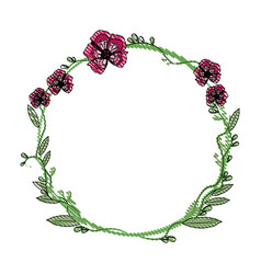 drawing floral wreath flowers decoration vector image