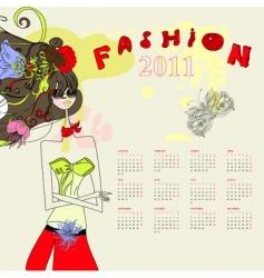 fashion calendar for 2011 vector image vector image