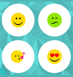 Flat icon face set of love descant joy and other vector