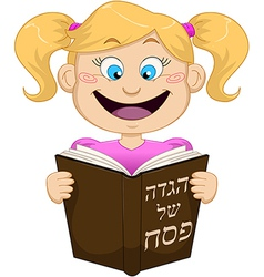 Girl reading from haggadah for passover vector