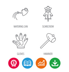 hammer scarecrow and watering can icons vector image vector image