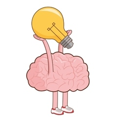 Human brain lifting lightbulb icon vector