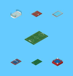 Isometric competition set of basin tennis ice vector