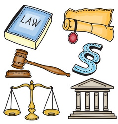 Judicial icons vector