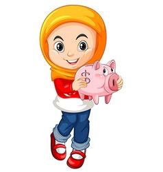 Little girl holding piggy bank vector image vector image