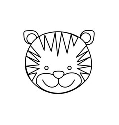 Monochrome contour with male tiger head vector