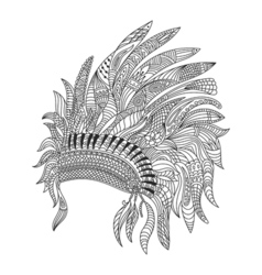 monochrome hand drawn zentagle of Indian war vector image