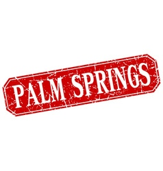 Palm springs red square grunge retro style sign vector