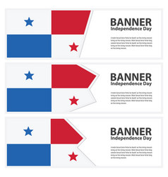 Panama flag banners collection independence day vector