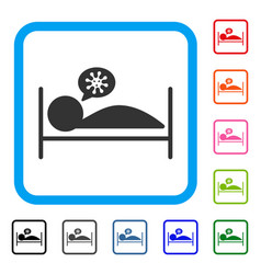 Patient bed framed icon vector