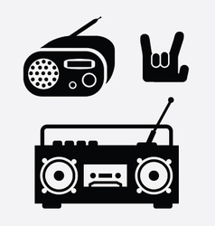 Radio and tape music icons vector
