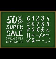 Sale 50 percent drawing on blackboard numbers 0-9 vector