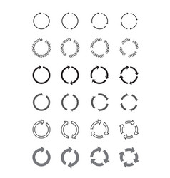 Set of black circle arrows signs vector