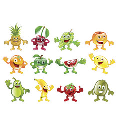 set of colourful fruit character mascots vector image