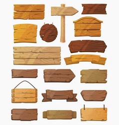 set of isolated pointers signs or wooden planks vector image