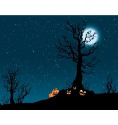 Spooky pumpkin patch vector