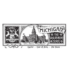 the state banner of michigan the wolverine state vector image