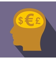 Thoughts about money icon flat style vector image