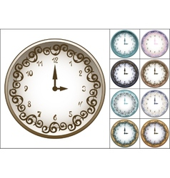 Wall clock decorated with ornate pattern vector