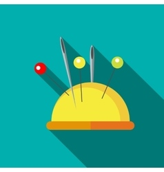 Yellow pincushion with pins icon flat style vector