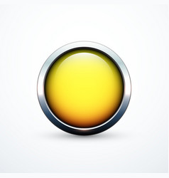 yellow round button vector image vector image
